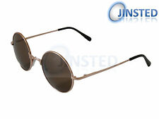STEAMPUNK TEASHADES SUNGLASSES SHADES 50S 60'S CIRCLE ROUND BROWN GOLD SP010