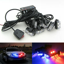 Red&Blue 16 LED Grille Emergency Car Police Strobe Flash Light 18 Flashing Lamp
