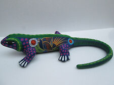HAND PAINTED clay CHAMELEON     mexican folk art similar to huichol and alebrije