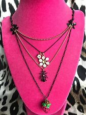 Betsey Johnson Vintage Picnic Lucite Strawberry Checkered Daisy Ant Necklace