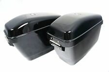GA Black Motorcycle Hard Saddle Bags w/Heavy Duty Mounting fits for Cruisers