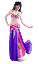 New Belly Dance Costume 3 Pics Bra&Belt&Skirt 34B/C 36B/C 38B/C 40B/C 13 Colors