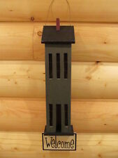 **Primitive Country Rustic Wooden Saltbox House Welcome Wall Hanging - Green!**