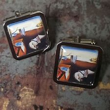 Unique! SALVADOR DALI CUFFLINKS chrome ART 'The Persistence of Memory' CLOCKS