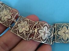 HANDMADE ANTIQUE VTG STERLING SILVER 925 CANNETILLE FILIGREE WIDE FLAT BRACELET