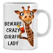 Beware Crazy Giraffe Novelty Gift Printed Tea Coffee Ceramic Mug