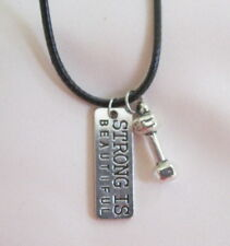 """SILVER TONE CROSSFIT WEIGHTS BARBELL ''STRONG IS BEAUTIFUL"""" Blk LEATHER NECKLACE"""