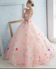 Pink/White Korean Style Pregnant Wedding Dress Colorful Flowers Bridal Gown Tutu