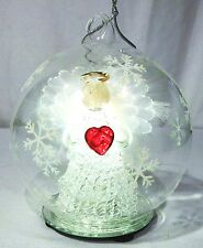 LED Glass Globe Christmas Ornament Angel with Color Changing Lights