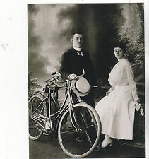 "*Postcard-""Couple Posing On Bicycle...with Man Holding Ladies Hat   -Classic-"