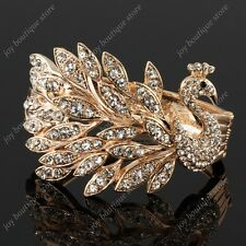 Gold peacock phoenix feather clear peafowl crystal rhinestone bracelet bangle