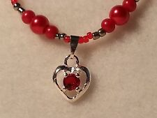 Red, & Silver Tone Faux Pearl Glass Bead Necklace Heart Pendant & Lobster Clasp