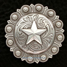 "WESTERN HEADSTALL SADDLE ANTIQUE SILVER STAR BERRY CONCHO 3"" screw back"