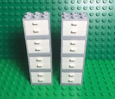 Lego X8 New Light Gray Cupboard Container W/ White Drawers,kitchen Cabinet Play