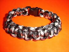 550 ParaCord Survival Cobra Braided Bracelet - Black & White Camo - Fits 7 1/2""