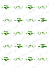 20 Nail Decals St Patrick's Day Clover Swirl Water Slide Nail Art Decals Cute!