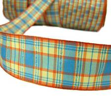 "5 Yards Blue Orange Yellow Plaid Wired Ribbon 1 1/2""W"