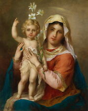 """Oil painting The Virgin Mary Madonna with Child Christ holding white flowers 36"""""""