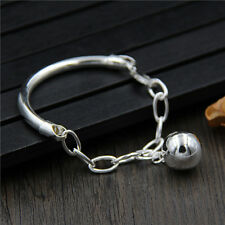 New Style S925 Silver Bracelet Women 4mm W Half with Link Bangle 56mm Diameter