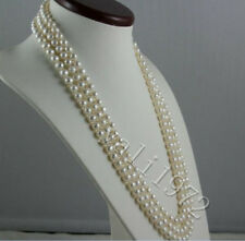 New! 14K Clasp AAA+ 8-9mm white Akoya round pearl necklace 52""