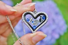 Cobalt Blue Love My Cat Living Locket NECKLACE Floating Charms Kitty Fish Bone