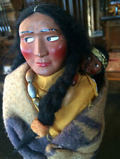 "12"" Skookum Indian Doll with Child on Back Circa 1940"