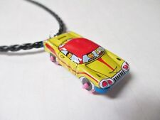 MUSCLE CAR Toy Upcycled Vintage Miniature Tin Litho Pendant Charm Necklace