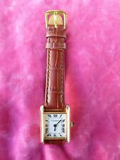 70'S CARTIER 18K GOLD PLATED WOMAN'S TANK WATCH, OVERHAULED, NEW STRAP !!