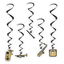 Pack of 5 Musical Instrument Whirls - Brass Band Hanging Party Decorations