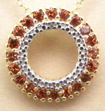 0.6ctw GENUINE GARNET & DIAMOND CIRCLE PENDANT NECKLACE