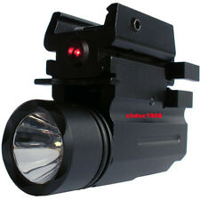 Tactical Cree Led Flashlight + Red Laser Sight fit for Full Size Pistol/Glock