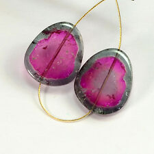 22.3CT Fine Pink Blue Watermelon Tourmaline Large Slice Bead PAIR