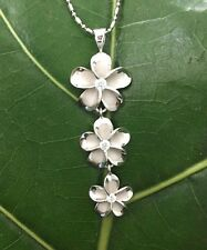 Hawaii Sterling Silver Rhodium Dangling 3 Plumeria 18mm Pendant Necklace SP86508