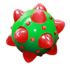 "Christmas Flashing Light Up LED Knobbly Ball Dog Toy. Green / Rrd 4"" / 20 cm"