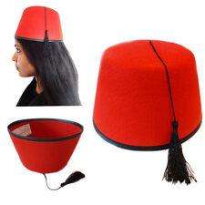 Rojo Fez Sombrero marroquí turco Sombrero Fiesta De Disfraces, Negro Con Borla diámetro 9cm Sombrero