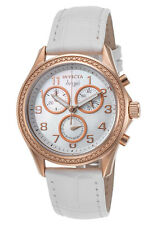 New Womens Invicta 12991 Angel Chronograph White Dial Watch