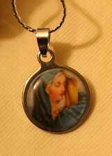 Lovely Small Round Stainless Steel Mater Dolorosa Lady of Sorrows Medal Necklace