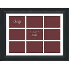 """Craig Frames 17x23 2"""" Black Frame, White Collage Mat, Openings for 9 5x7 Images"""