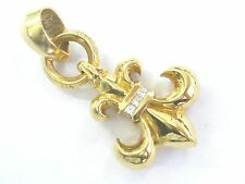 Chrome Hearts 22k Gold Boy Scout Fluer 6 Diamond Pendant .30Ct