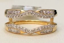 Solitaire Enhancer 0.34ct Diamonds Ring Guard Wrap Jacket Yellow Gold Milgrain