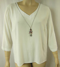 Rockmans White Viscose 3/4 Sleeve Jewel Necklace Top Tunic Size 20 BNWT # I80