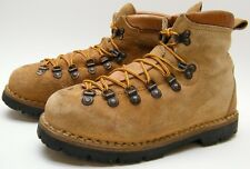MENS VINTAGE ITALY TAN BROWN SUEDE LEATHER MOUNTAINEERING BOOTS SZ 6.5~1/2 D