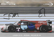 Maris / Merlin SIGNED Oak Racing, PromoCard  ELMS LMP3 2016