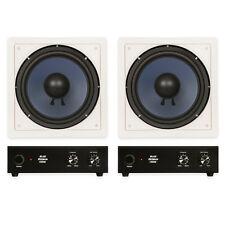"""Blue Octave LW10 In Wall 10"""" Passive Subwoofer Speakers Home 2 Sub and 2 Amp Set"""