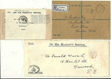 * 1913/66  5 POST OFFICE RELATED COVERS OHMS RE-USED LABEL PO CROWN REM REGd