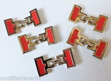St John Button Clasps Gold Tone Metal Coral Red Enamel Lot 5 Sewing Notions