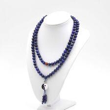 8mm Blue Lapis Lazuli Gemstone Tibet Buddhist 108 Prayer Beads Mala Necklace