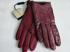 Authentic NEW BURBERRY Women's Red Leather SNAKE SKIN Gloves $495 Size Small 7