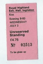 KISS Ingliston, Scotland 1980s Used Ticket Stub