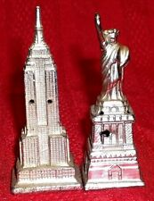 Metal Salt & Pepper Shakers Statue of Liberty, Empire State - Monuments NEW YORK